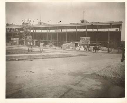 Exterior view of Weeghman Park (completed 1914) under construction, near Addison Street and Sheffield Avenue, Chicago, Illinois, early to mid 1910s. Sign reads: Federal League Base Ball Park. Weeghman Park was renamed Wrigley Field in 1927. (Photo by Joseph A. Garrity/Chicago History Museum/Getty Images) Photo: Chicago History Museum, Getty Images