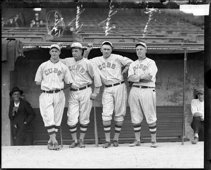 National League's Chicago Cubs baseball players (left to right) Tyler, Jim Vaughn, Phil Douglas, and Hendrix, standing in front of a dugout at Weeghman Park, Chicago, Illinois, 1918. Weeghman Park was renamed Wrigley Field in 1927. (Photo by Chicago History Museum/Getty Images) Photo: Chicago History Museum, Getty Images