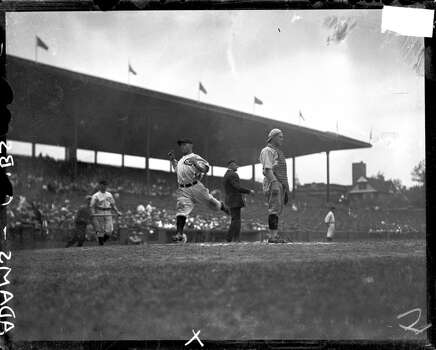 Chicago Cubs baseball player Sparky Adams crossing home plate and scoring during a game at Weeghman Park, Chicago, Illinois, 1922. Weeghman Park was renamed Wrigley Field in 1927. (Photo by Chicago History Museum/Getty Images) Photo: Chicago History Museum, Getty Images
