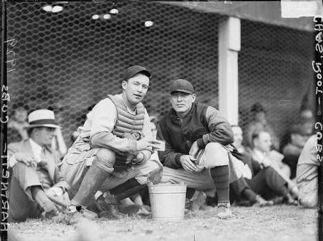 Chicago Cubs baseball catcher Leo 'Gabby' Hartnett and Charles Root at Wrigley Field, located at 1060 West Addison Street, Chicago, Illinois, 1929. This image may have been taken at a 1929 World Series game between the Cubs and the American League's Philadelphia Athletics. (Photo by Chicago History Museum/Getty Images) Photo: Chicago History Museum, Getty Images