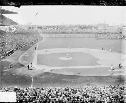 View of baseball players standing in position on the field during a World Series game between the National League's Chicago Cubs and the American League's Philadelphia Athletics at Wrigley Field, located at 1060 West Addison Street, Chicago, Illinois, 1929. (Photo by Chicago History Museum/Getty Images) Photo: Chicago History Museum, Getty Images