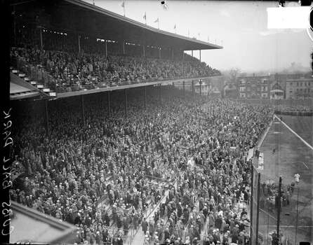 Elevated view of spectators standing in the grandstands and upper deck at Wrigley Field, Chicago, Illinois, 1927. (Photo by Chicago History Museum/Getty Images) Photo: Chicago History Museum, Getty Images