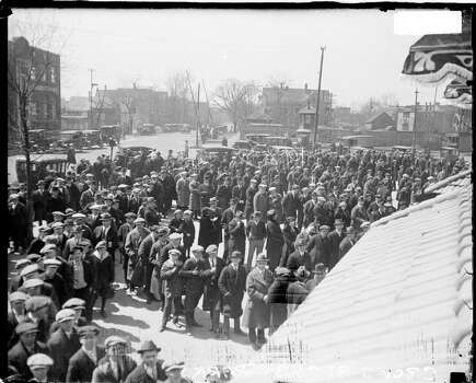 Crowd waiting in lines outside Weeghman Park, Chicago, Illinois, 1923. Weeghman Park was renamed Wrigley FIeld in 1927. (Photo by Chicago History Museum/Getty Images) Photo: Chicago History Museum, Getty Images