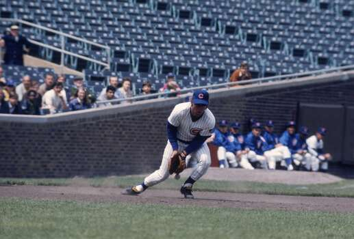 Third baseman Ron Santo #10 of the Chicago Cubs lets this hot smash bounce off his glove at Wrigley Field during the 1960s in Chicago, Illinois. (Photo by Focus On Sport/Getty Images) Photo: Focus On Sport, Focus On Sport/Getty Images