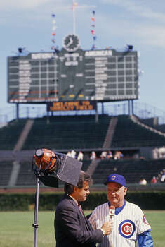 Manager Don Zimmer of the Chicago Cubs does an onfield interview before the game at Wrigley Field during the late 1980s in Chicago, Illinois. (Photo by Focus On Sport/Getty Images) Photo: Focus On Sport, Focus On Sport/Getty Images / 1980 Focus On Sport