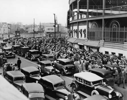 View of the chaos outside Wrigley Field the day tickets go on sale for the World Series between the hometown Chicago Cubs and the Detroit Tigers as an estimate 10,000 baseball fans try to buy tickets, October 1, 1935. The Tigers went on to win the series by four games to two. (Photo by FPG/Getty Images) Photo: FPG, Getty Images