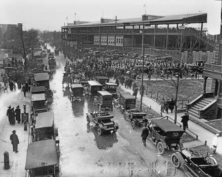 View of the traffic surrounding Wrigley Field, home of the National League's Chicago Cubs, as fans gather for a game, ca.1920s. Vehicles can be seen parked on the street or driving through. (Photo by Chicago History Museum/Getty Images) Photo: Chicago History Museum, Getty Images