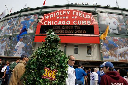 A fan dressed as the outfield ivy wall walks in front of Wrigley Field before the Opening Day game between the Chicago Cubs and the Milwaukee Brewers on April 12, 2010 in Chicago, Illinois. (Photo by Jonathan Daniel/Getty Images) Photo: Jonathan Daniel, Getty Images
