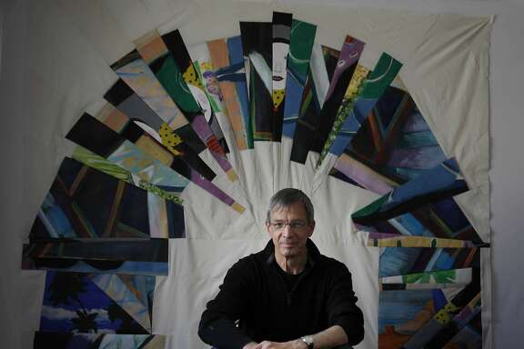 "Joe Cunningham, a quilter, poses for a portrait with one of his quilt's ""The Imperial Arch of Harriet Powers"", a work in progress,  made with  pieces of paintings on canvas in his studio on Friday, April 18, 2014 in San Francisco, Calif."