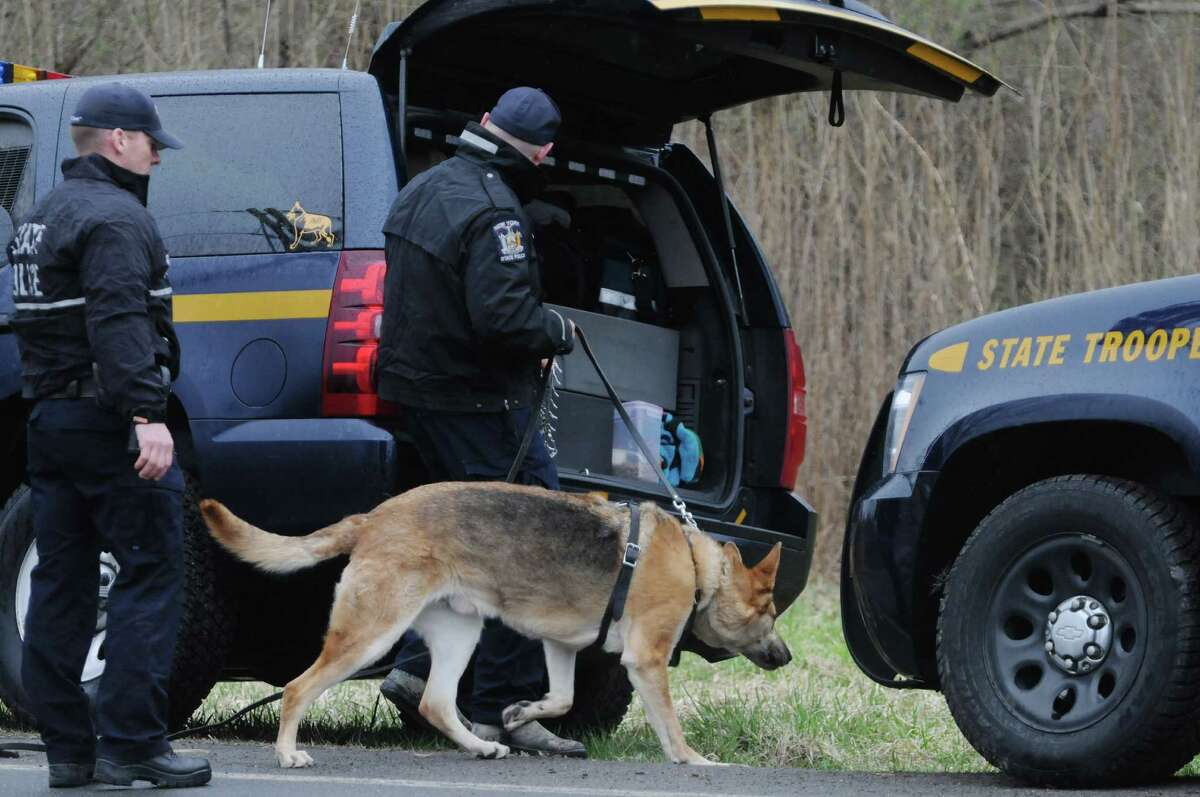 State Police along with a police dog head out to begin a search of an area off of Alplaus Avenue on Wednesday, April 23, 2014, in Glenville, N.Y. State Police were in the area resuming the search for Craig Frear, who disappeared in 2004. (Paul Buckowski / Times Union)