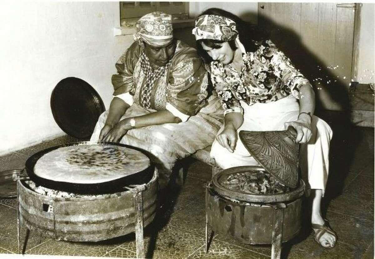 Paula Wolfert is seen in 1971 with her mentor, Madame Jaidi, in Rabat.