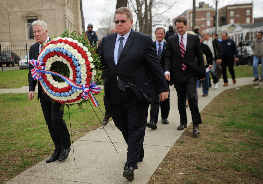 The ceremony commemorating the 27th anniversary of the L'Ambiance Plaza collapse at City Hall in Bridgeport, Conn. on Wednesday, April 23, 2014. Photo: Brian A. Pounds / Connecticut Post