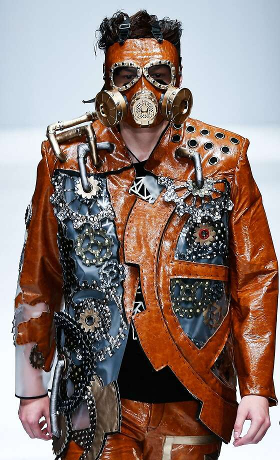 Steampunk Elvis: How to look cool in Beijing when the fine-particulate index goes from unhealthy to hazardous, care of the young fashion designers at the China Academy of Art School of Design. (China Graduate Fashion Week in Beijing.) Photo: Lintao Zhang, Getty Images