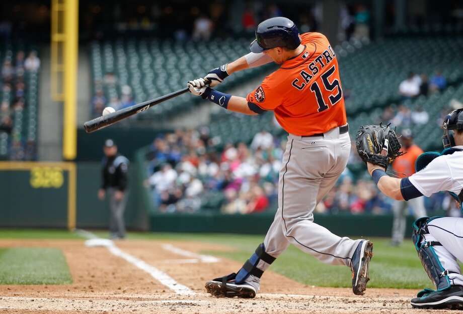 Jason Castro hits a two-RBI double in the third inning. Photo: Otto Greule Jr, Getty Images