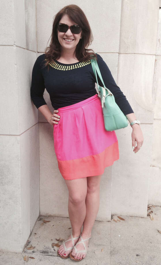 Lauren James is spring chic in her mix of low end with high fashion, brights and pastels. Her fuchsia and orange color-blocked J. Crew skirt is teamed with a gold-embellished, three-quarter sleeve knit top from the Gap. And her mint-green Kate Spade bag works wonderfully with her flat sandals from Target. - Michael Quintanilla Photo: Photos By Michael Quintanilla / San Antonio Express-News / San Antonio Express-News