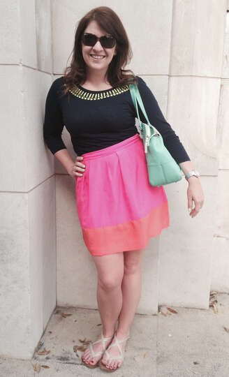 Lauren James is spring chic in her mix of low end with high fashion, brights and pastels. Her