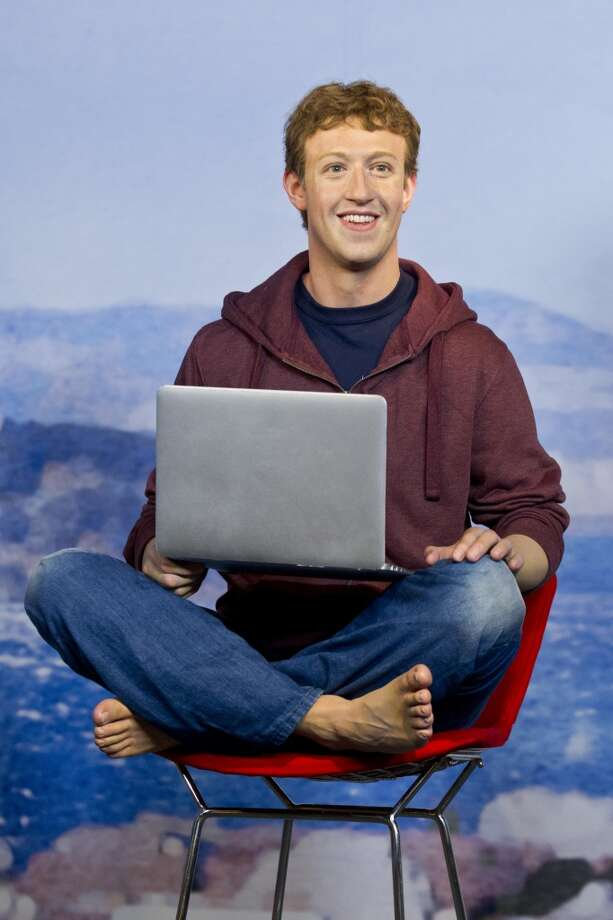 A wax figure of Mark Zuckerberg stands on display at the future site of Madame Tussaud's attraction in San Francisco's Fisherman's Warf on Wednesday April 23, 2014. Photo: Beck Diefenbach, Beck Diefenbach/Madame Tussauds