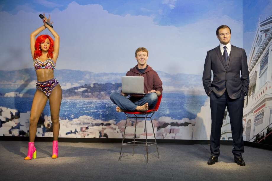 (From left to right) Wax figures of Rihanna, Mark Zuckerberg and Leonardo DiCaprio stand on display at the future site of Madame Tussaud's attraction in San Francisco's Fisherman's Warf on Wednesday April 23, 2014. Photo: Beck Diefenbach, Beck Diefenbach/Madame Tussauds