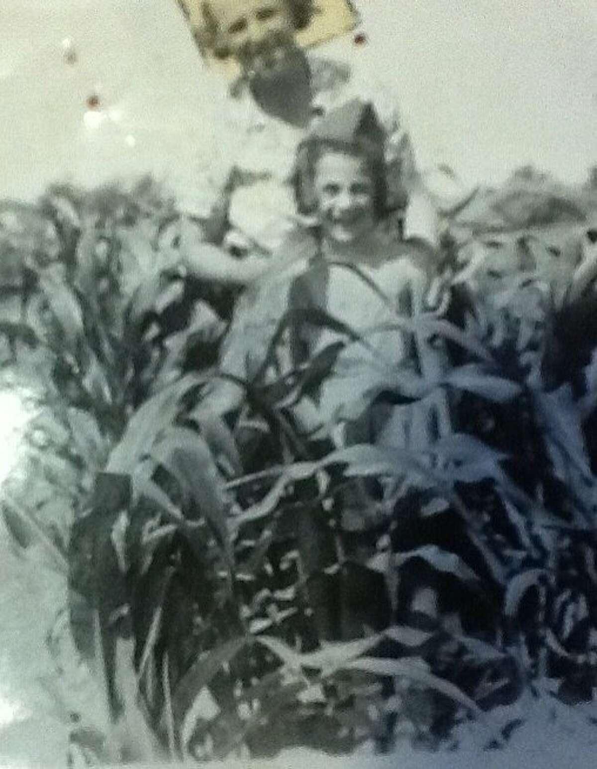 Paula Wolfert is seen with her grandmother in her victory garden in 1943.