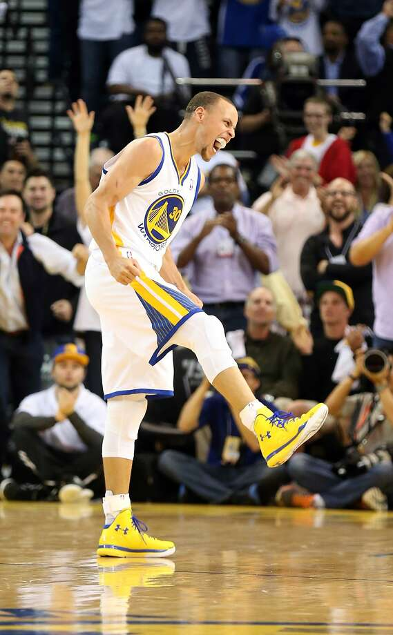 The Warriors want continued emotion out of Stephen Curry, as seen in an April 14 game against Minnesota. Curry loosed his frustrations in Game 2. Photo: Kelley L Cox, Reuters