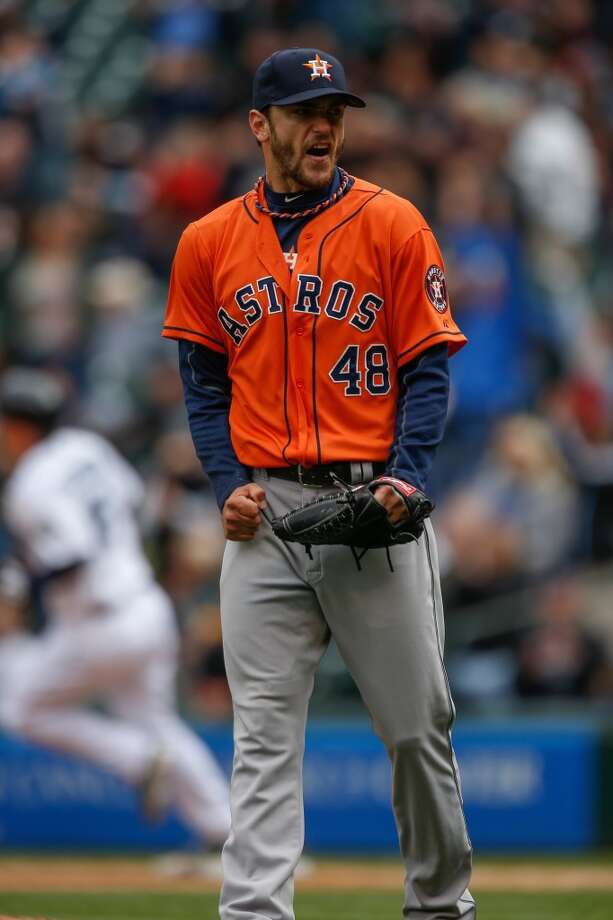 April 23: Mariners 5, Astros 3 Astros starting pitcher Jarred Cosart reacts after giving up a two-run homer to Kyle Seager in the seventh inning. Photo:  Otto Greule Jr, Getty Images
