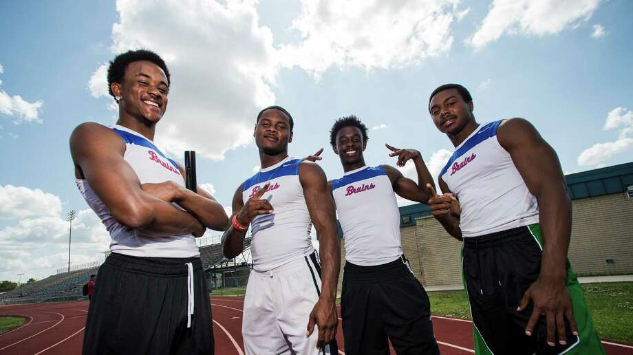 West Brook High School's relay team -- Isaiah Wilkerson, Justen Hervey, Cameron McKinney, and James Reed, left to right -- poses for a picture at the school's track on Tuesday afternoon. The team won the 400-meter relay at the 21-5A track meet. Photo taken Tuesday, 4/22/14 Jake Daniels/@JakeD_in_SETX Photo: Jake Daniels / ©2014 The Beaumont Enterprise/Jake Daniels