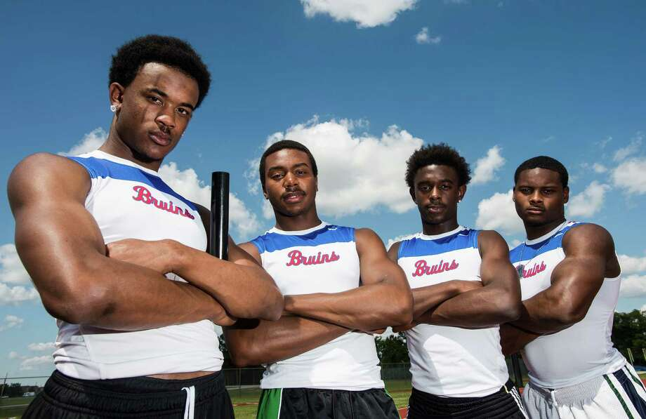 West Brook High School's relay team -- Isaiah Wilkerson, James Reed, Cameron McKinney, and Justen Hervey, left to right  -- poses for a picture at the school's track on Tuesday afternoon. The team won the 400-meter relay at the 21-5A track meet.