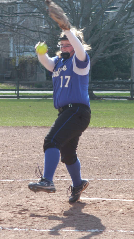 Fairfield Ludlowe junior pitcher Brigette Anderson threw three innings on Wednesday, April 23 in an FCIAC softball game at Sturges Park. She allowed one hit and struck out four in the Falcons' 13-0 victory over Bridgeport Central. Photo: Andy Hutchison, Reid L. Walmark / Fairfield Citizen