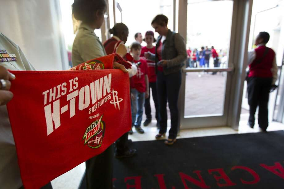 Houston Rockets fans arrives to Game 2 of the NBA Western Conference Quarterfinals against the Portland Trail Blazers at Toyota Center Wednesday, April 23, 2014, in Houston. ( Brett Coomer / Houston Chronicle ) Photo: Brett Coomer, Houston Chronicle