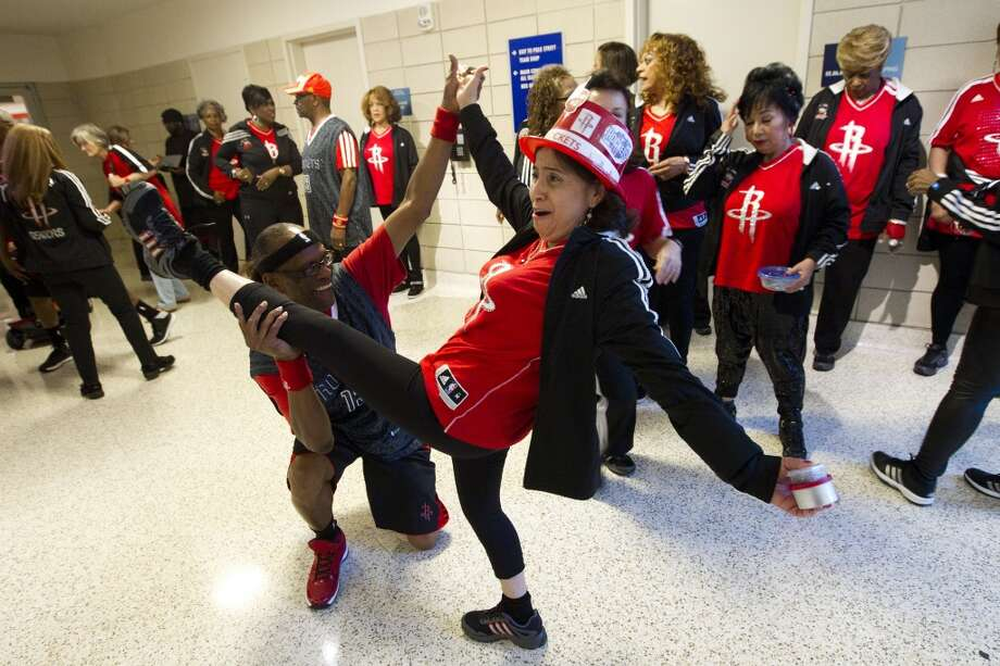 The Houston Rockets Space City Seniors dance group warm up before Game 2 of the NBA Western Conference Quarterfinals against the Portland Trail Blazers at Toyota Center Wednesday, April 23, 2014, in Houston. ( Brett Coomer / Houston Chronicle ) Photo: Brett Coomer, Houston Chronicle