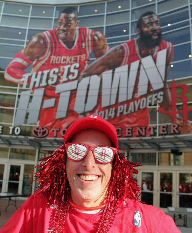 Kenny Babcock stands at the front of the line before game one of the Western Conference Quarterfinals playoff game at the Toyota Center Sunday, April 20, 2014, in Houston. ( James Nielsen / Houston Chronicle ) Photo: James Nielsen, Houston Chronicle