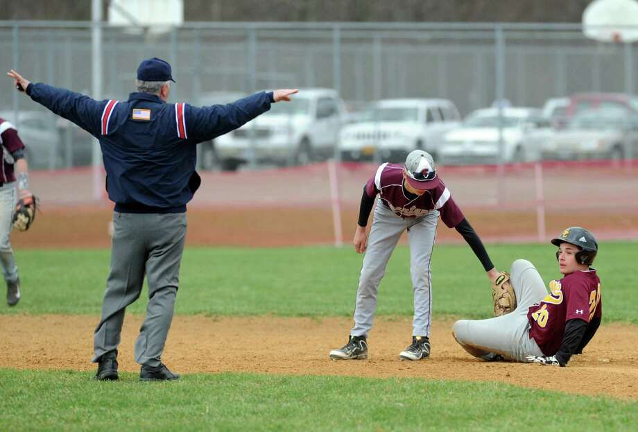 Colonie's Antonio Archina is safe at second after hitting a double during their boy's high school baseball game against Burnt Hills on Wednesday April 23, 2014 in Burnt Hills, N.Y. (Michael P. Farrell/Times Union) Photo: Michael P. Farrell / 00026584A