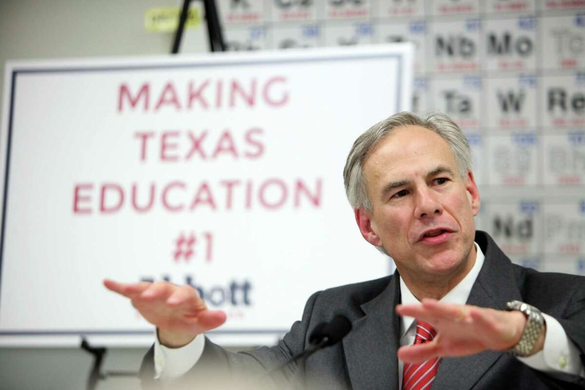 """Greg Abbott unveils the second phase of his """"Education Texans"""" policy at Northbrook High School."""