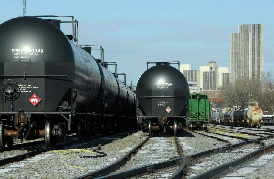 Rail oil tanker cars at the Port of Albany on Thursday Dec. 12, 2013 in Albany, N.Y. (Michael P. Farrell/Times Union) Photo: Michael P. Farrell / 00025019A