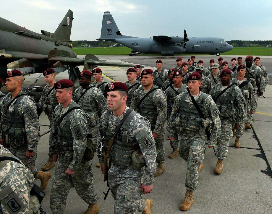 The first American troops arrive at the airport in Swidwin, Poland, after Washington said it was sending a force of 600 to the Baltic states as the crisis over Ukraine deepens. Photo: Janek Skarzynski / AF/ Getty Images / JANEK SKARZYNSKI