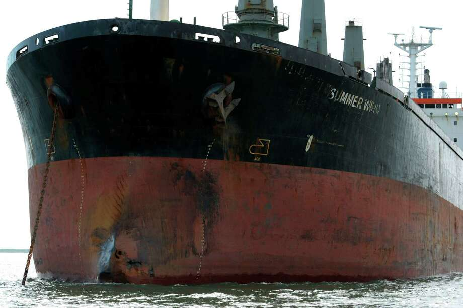 A collision with a towboat and its barges left a dent on the front of the Summer Wind. The two owners in the collision each say they're not to blame. Photo: Billy Smith II, Staff / © 2014 Houston Chronicle