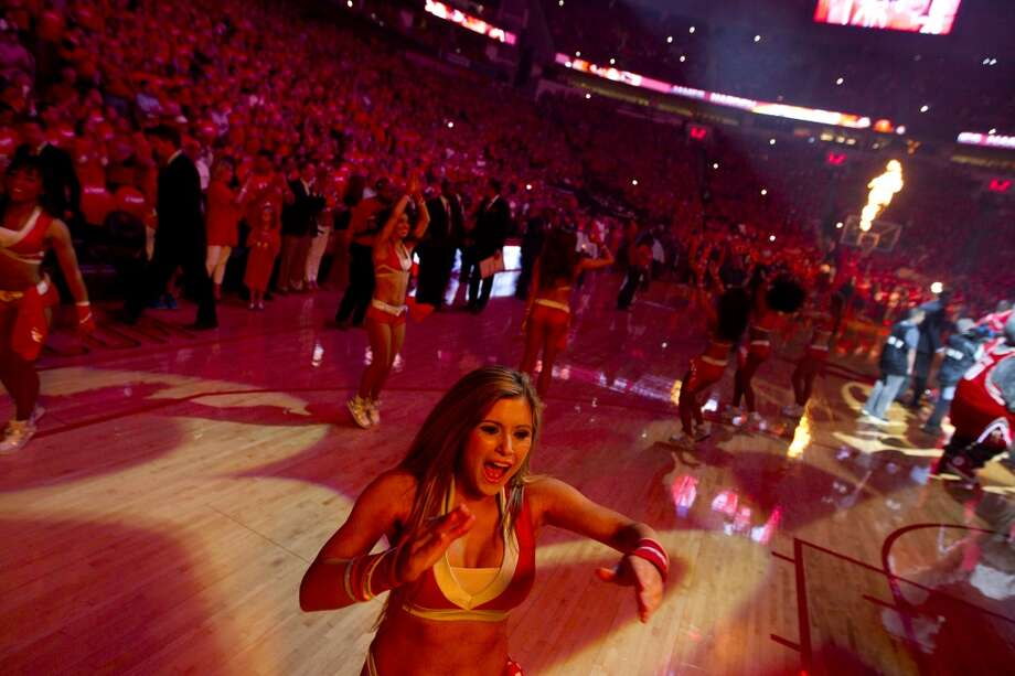 Houston Rockets Power Dancers cheer before Game 2 of the NBA Western Conference Quarterfinals against the Portland Trail Blazers at Toyota Center Wednesday, April 23, 2014, in Houston. ( Brett Coomer / Houston Chronicle ) Photo: Brett Coomer, Houston Chronicle