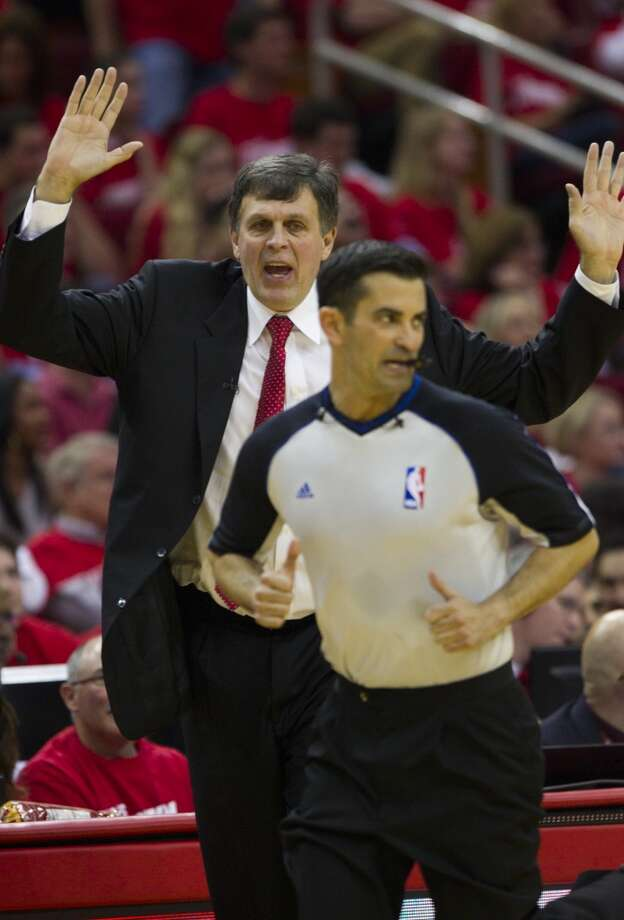 Houston Rockets head coach Kevin McHale argues a call to official Zach Zarba during the second quarter of Game 2 of the NBA Western Conference Quarterfinals at Toyota Center Wednesday, April 23, 2014, in Houston. ( Brett Coomer / Houston Chronicle ) Photo: Brett Coomer, Houston Chronicle