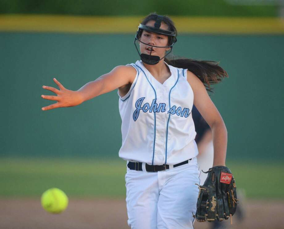 Johnson's Caitlyn Colquhoun, pitching against Roosevelt earlier this season, is 17-3 with a 0.44 ERA on the mound this season — and she's only a freshman. Photo: John Albright / For The Express-News