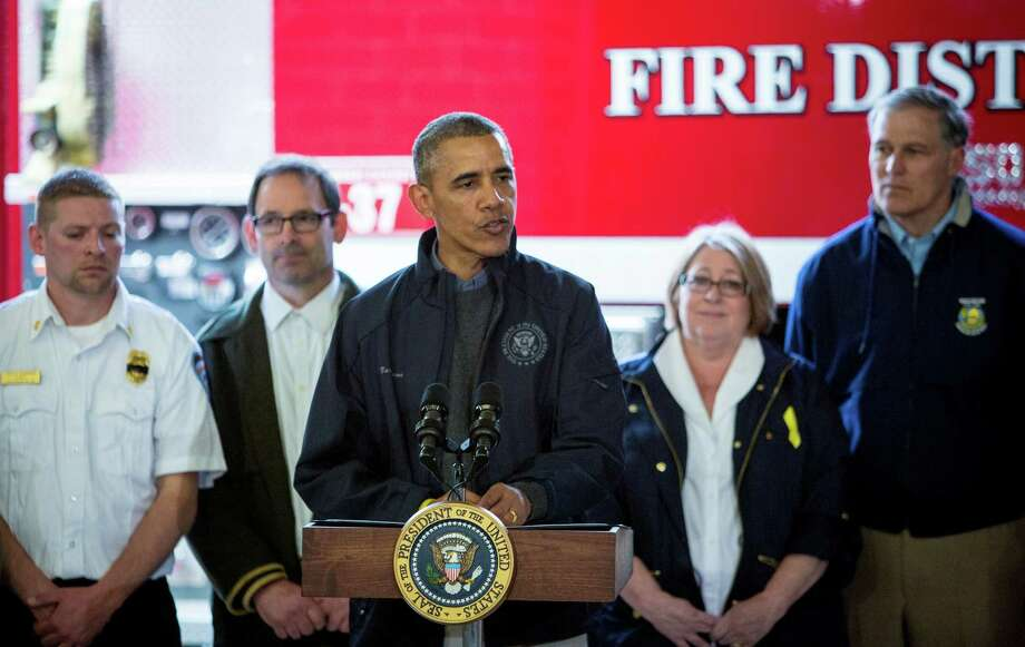 President Barack Obama speaks at the Oso Fire Station near the scene of last month's deadly Oso mudslide. Photographed on Tuesday, April 22, 2014. Photo: JOSHUA TRUJILLO, SEATTLEPI.COM / SEATTLEPI.COM