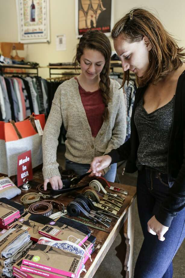 Berkeley High School sophomores Mia Elser and Ella Hoffman check out the accessories  at Convert, Berkeley, CA. during the Style Celebrations at Bay Area Boutiques on April 23, 2014. Photo: Yoni Mayeri, Special To The Chronicle