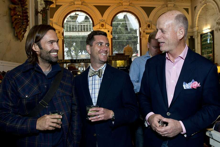 Jeremy Black, Jon Levin and Gus Walbolt (left to right) enjoy the Style Launch event at Wingtip to celebrate the San Francisco Chronicle's newly reimagined Style section at the store in San Francisco, Calif., on Wednesday, April 23, 2014. Photo: Laura Morton, Special To The Chronicle
