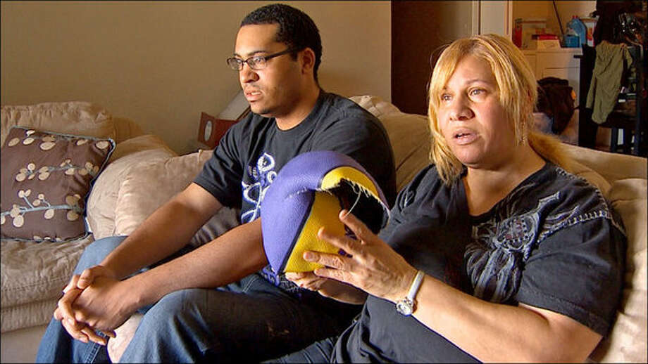 Rosemary Ferrand says she was badly bruised when a prize basketball burst under her arm at Six Flags Over Texas on Easter Sunday. Photo: WFAA