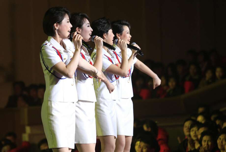 Singers of the Moranbong Band perform in the capital, Pyongyang. The miniskirt-sporting girl group is reportedly the nation's first all-female band and a favorite of leader Kim Jong Un's. Photo: Jon Chol Jin, Associated Press