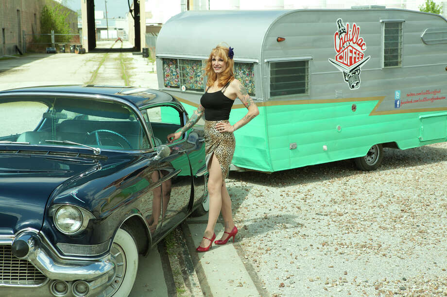 Meghan Ackerman is the entrepreneur behind Cadillac Coffee, a renovated 1963 Shasta camper she pulls with her  '57 Cadillac, named Marilyn, from which she serves gourmet coffee, homemade breakfast treats and various other beverages. Ackerman is a former burlesque performer and instructor who works on her vintage rides.