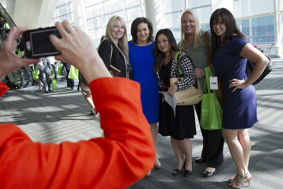 Facebook COO Sheryl Sandberg (second from left), at a business conference in 2013, is one of the few women to reach the top echelons of the tech industry. Photo: Erin Lubin, Bloomberg
