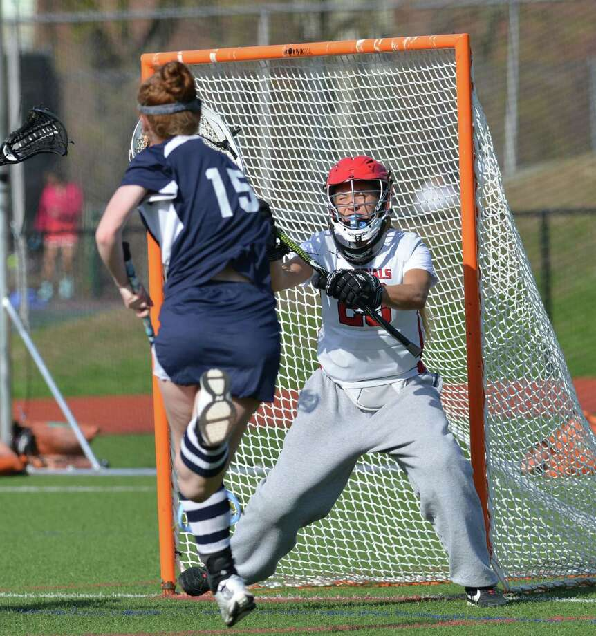 Girls high school lacrosse match between Greenwich High School and Wilton High School at Greenwich, Wednesday, April 23, 2014. Wilton defeated Greenwich by a score of 11-5. Photo: Bob Luckey / Greenwich Time