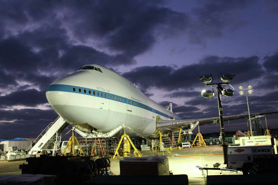 The NASA 905 jet will be moving from its current spot in a remote part of Ellington Field to its new home just outside the front doors of Space Center Houston. The Independence shuttle mock-up will eventually sit atop it as part of a $12 million, six-story interactive attraction Photo: (Space Center Houston)