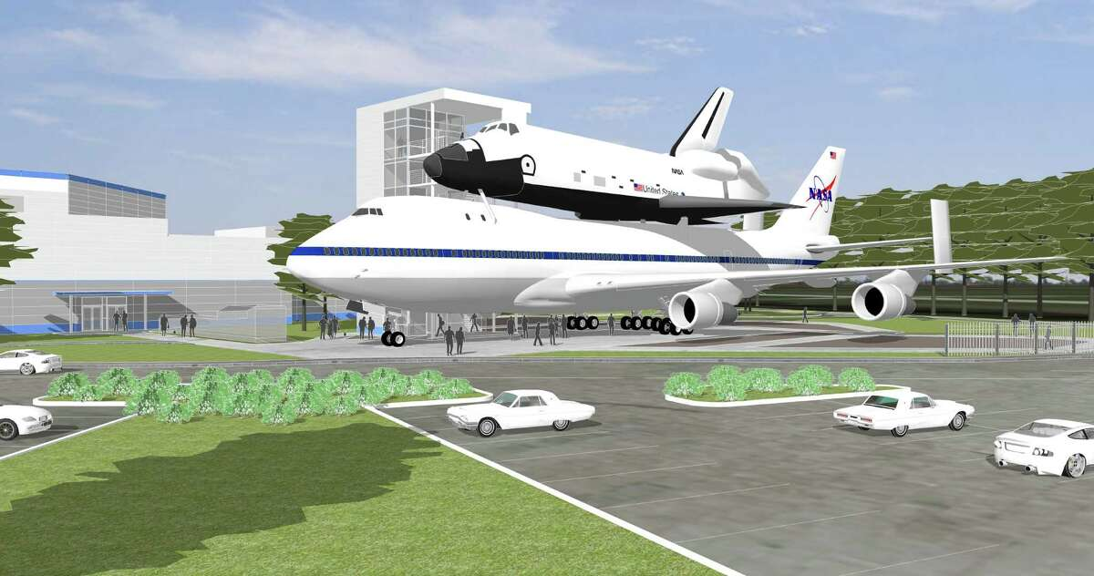 The NASA 905 jet will be moving from its current spot in a remote part of Ellington Field to its new home just outside the front doors of Space Center Houston. The Independence shuttle mock-up will eventually sit atop it as part of a $12 million, six-story interactive attraction
