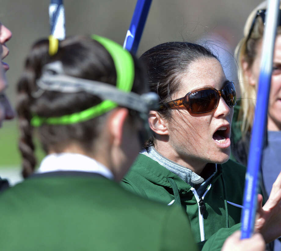 Convent of the Sacred Heart lacrosse coach Courtney DePeter during the girls high school lacrosse match between Convent of the Sacred Heart and Choate at Convent in Greenwich, Wednesday, April 16, 2014. Photo: Bob Luckey / Greenwich Time